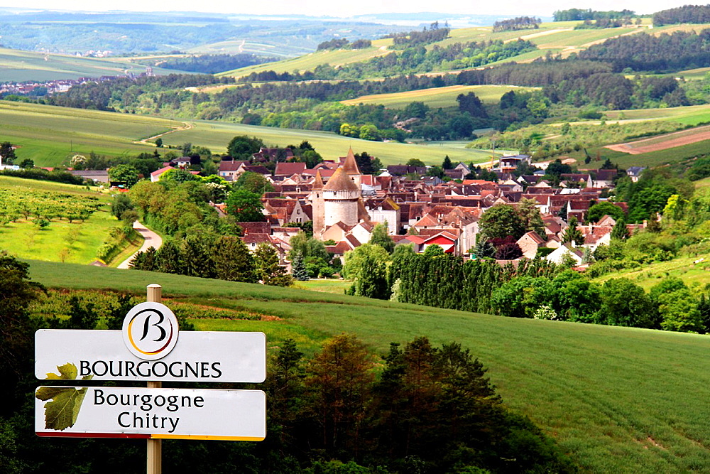 Tonw of France, Burgundy, Yonne, Chitry with its fortified church and a view on all the village