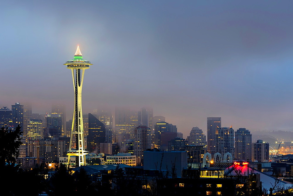 Seattle Skyline and Space Needle at dawn viewed from Kerry Park, Washington, USA