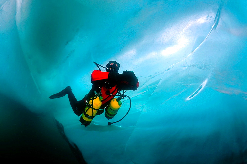 Technical diving under ice, in lake Baikal, Siberia, Russia, island Olkhon