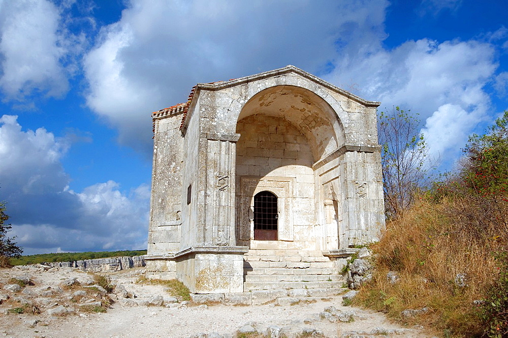 Mausoleum of Dzhanike-Khanym, daughter of Tokhtamysh cufut Qale, Chufut-Kale Jewish Fortress, cave city Crimea, Ukraine, Eastern Europe