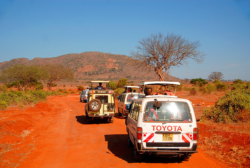 tourists in campers in Tsavo National Park, Kenia - 817-429687