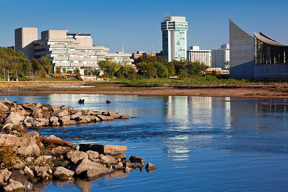 USA, Kansas, Wichita, skyline by the Arkansas River