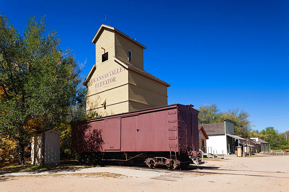 USA, Kansas, Wichita, Old Cowtown Museum, village from 1865-1880, grain elevator