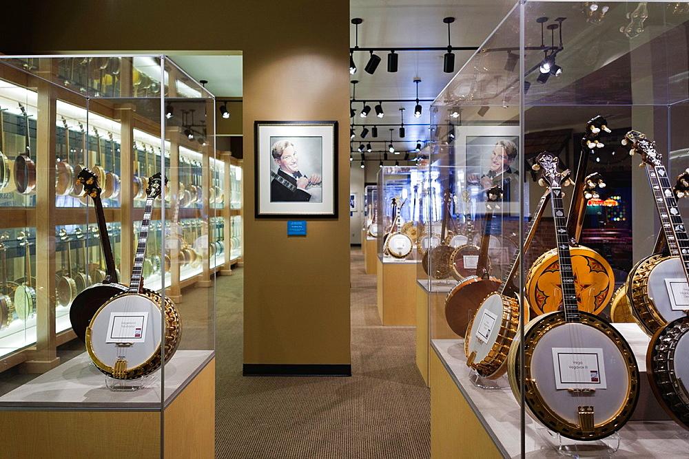 USA, Oklahoma, Oklahoma City, American Banjo Museum, banjos