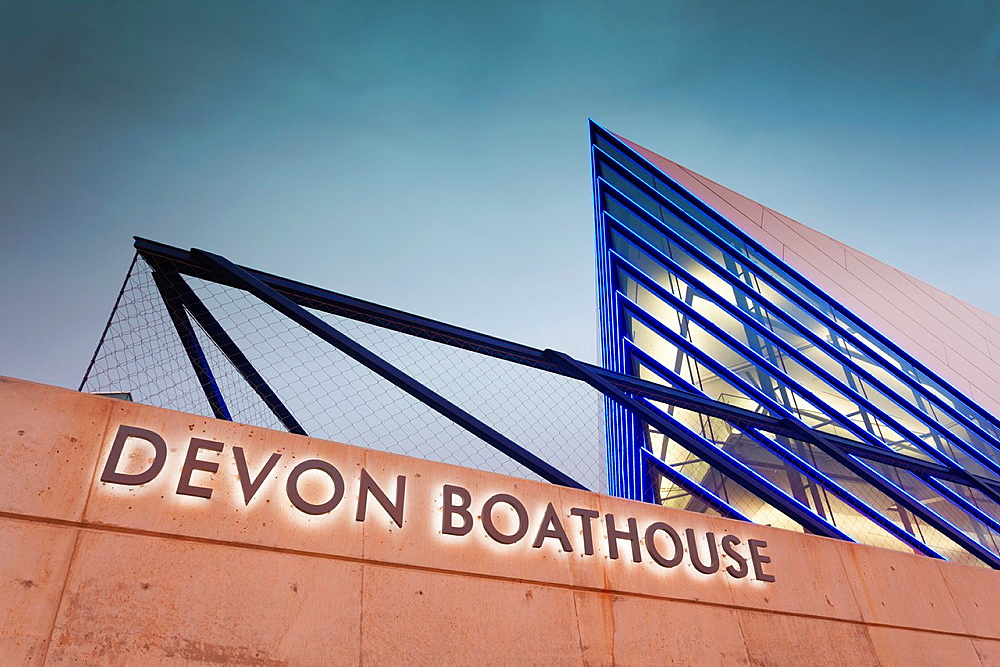 USA, Oklahoma, Oklahoma City, Boathouse District, Devon Boathouse, dawn