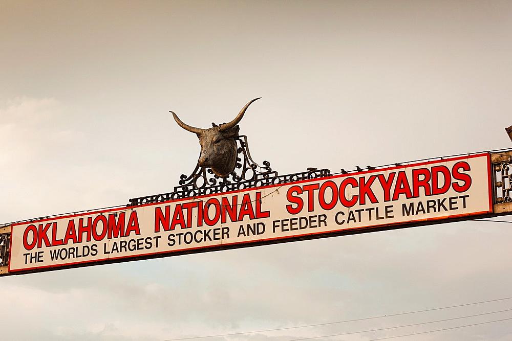 USA, Oklahoma, Oklahoma City, Oklahoma National Stockyards, entrance