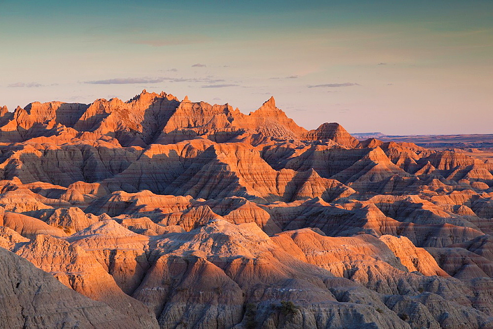 USA, South Dakota, Interior, Badlands National Park, sunset