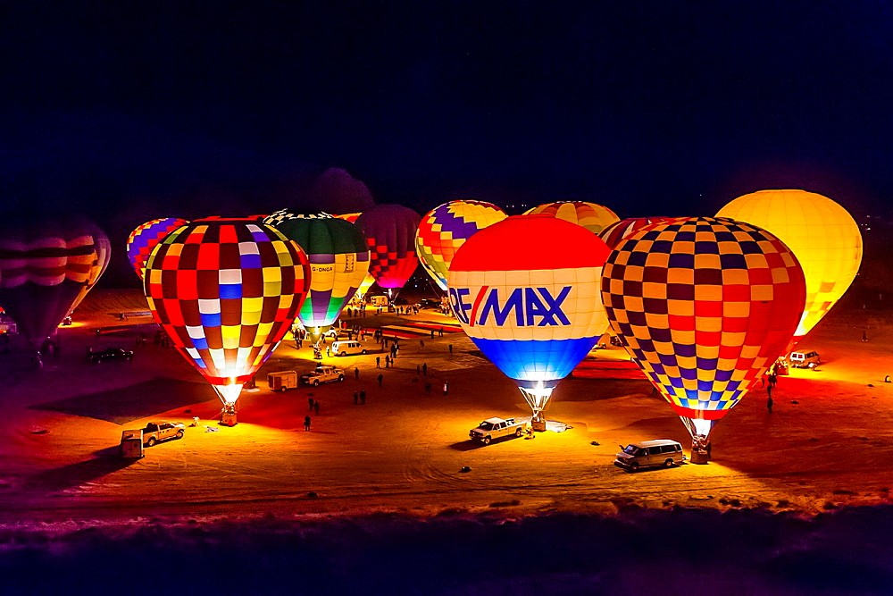 Evening balloon glow, Red Rock Balloon Rally, Red Rock State Park, near Gallup, New Mexico USA