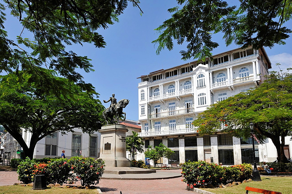 equestrian statue of General Tomas Herrera 1804-1854, Plaza Herrera, Casco Antiguo the historic district of Panama City, Republic of Panama, Central America