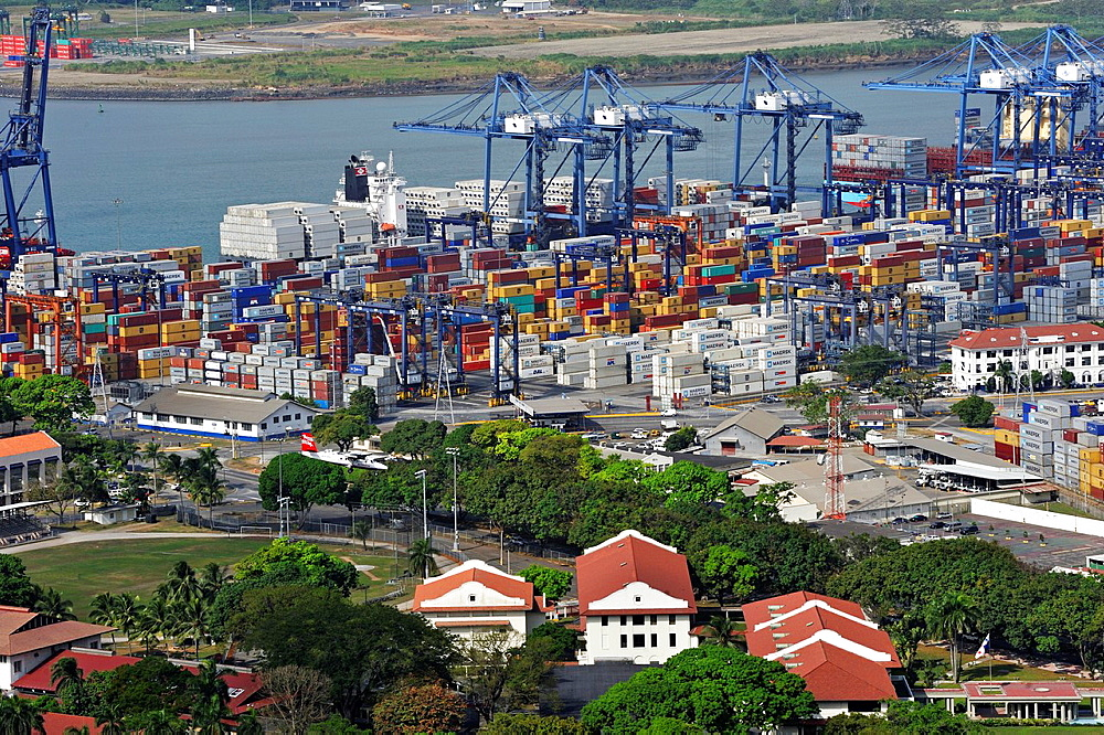 Port of the Canal seen from Ancon Hill, Panama City, Republic of Panama, Central America