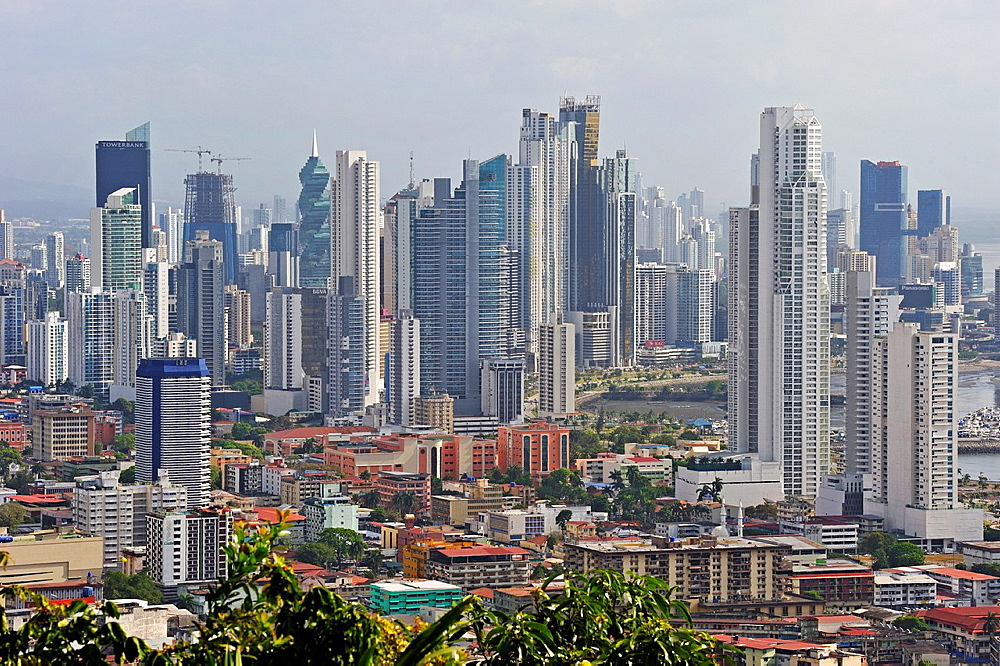 overview of Panama City from the top of Ancon Hill, Republic of Panama, Central America