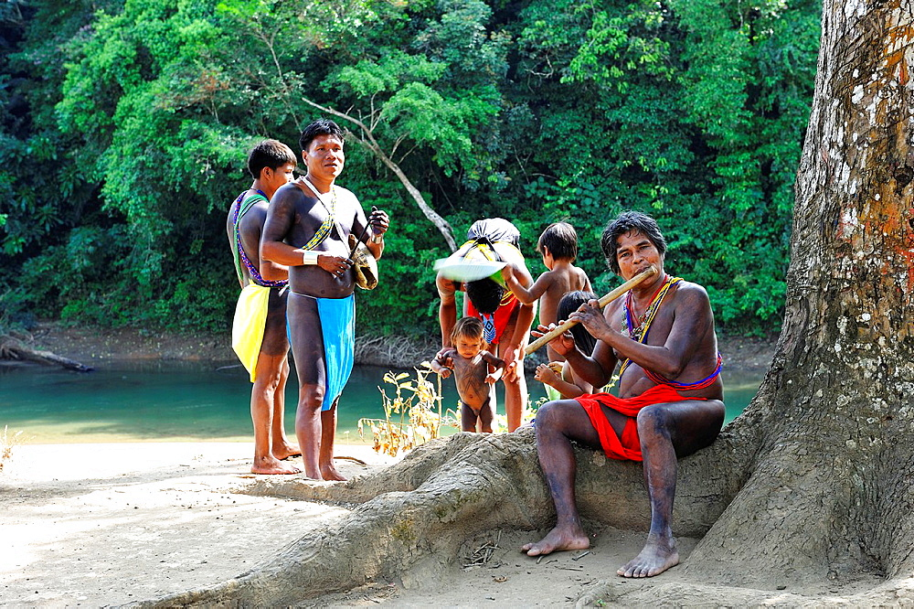 villagers of Embera native community living by the Chagres River within the Chagres National Park, Republic of Panama, Central America