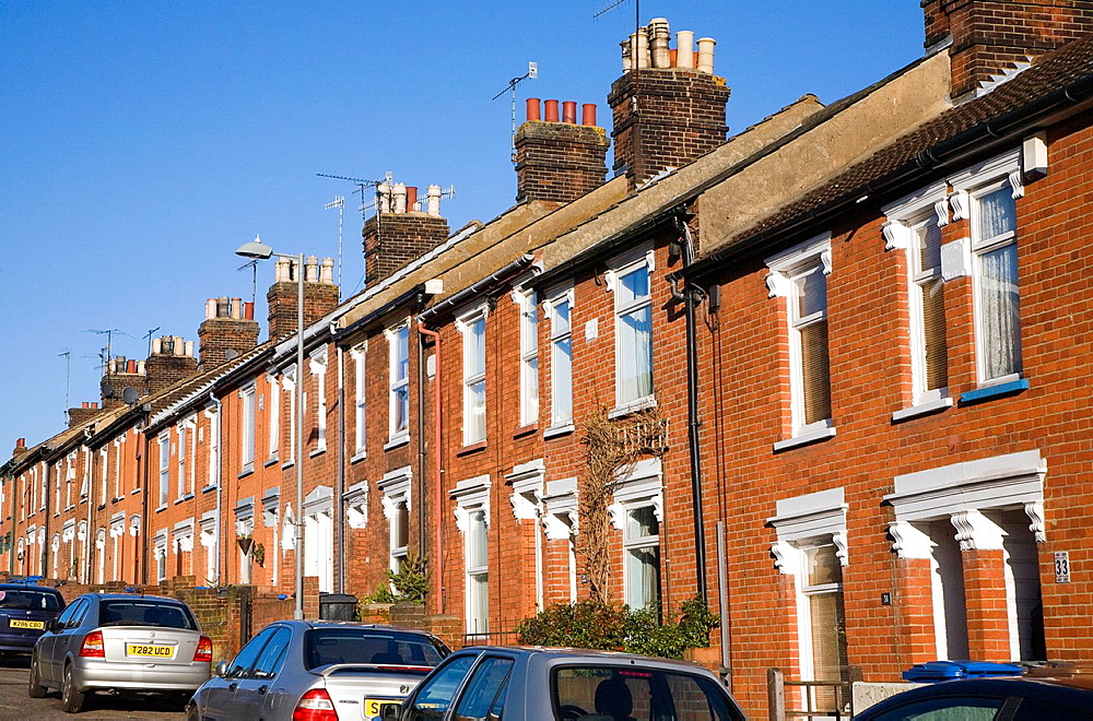 Nineteenth century red brick terraced housing, Ipswich, Suffolk, England