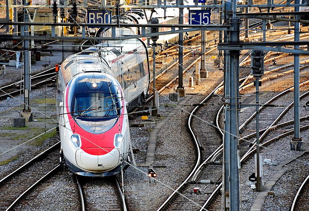 train departing from Cornavin, main railway station in Geneva, Switzerland, Europe