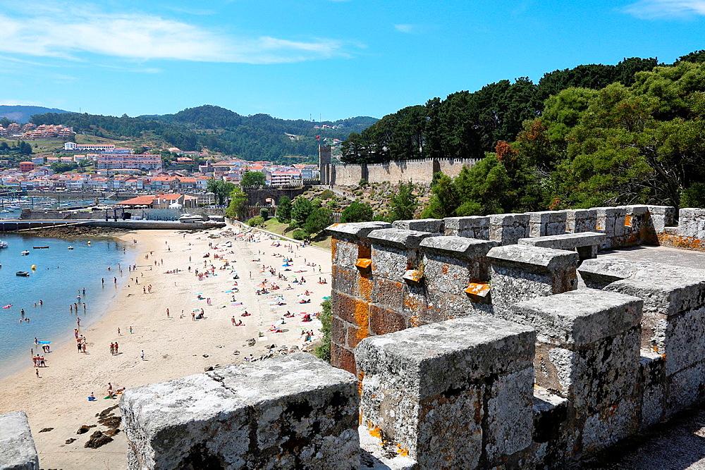Monterreal castle and Marina, Baiona, Pontevedra, Galicia, Spain.