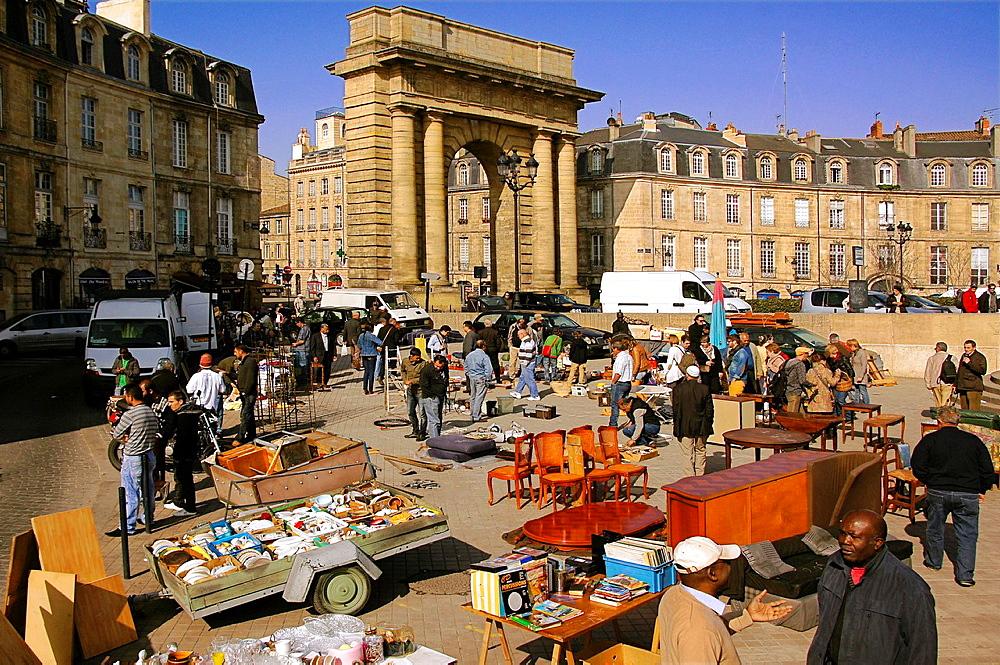 Brocante' flea market every saturday at the Saint Michel district by 'Porte de Bourgogne', Bordeaux, Gironde, Aquitaine, France