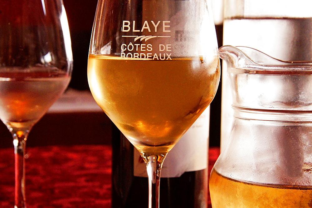 Cotes de Blaye white wine from the Cotes de Bordeaux wine district, Gironde, Aquitaine, France