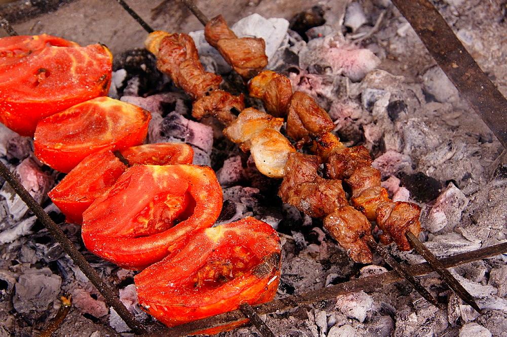 Food: 'shish kebap' grilled meat, Turkey