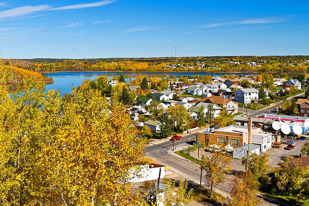 The city of Flin Flon with yellow autumn fall foliage color, Manitoba, Canada