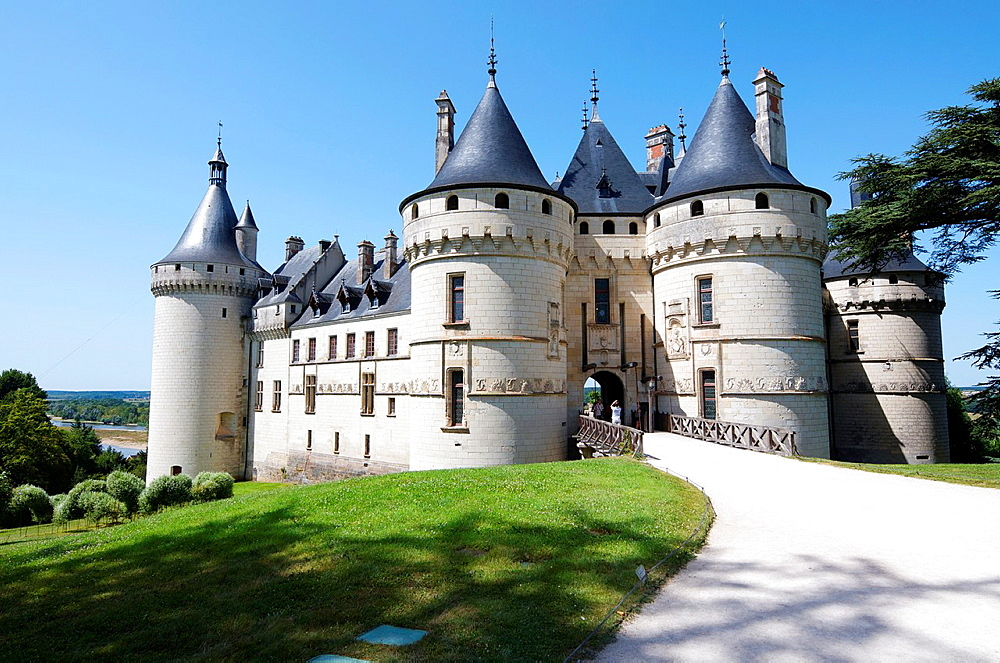 Entrance to the castle of Chaumont Sur Loire, Loire Valley, France Originally built in the 10th century, has undergone multiple renovations until reaching its present appearance It is a French Historic Monument since 1840