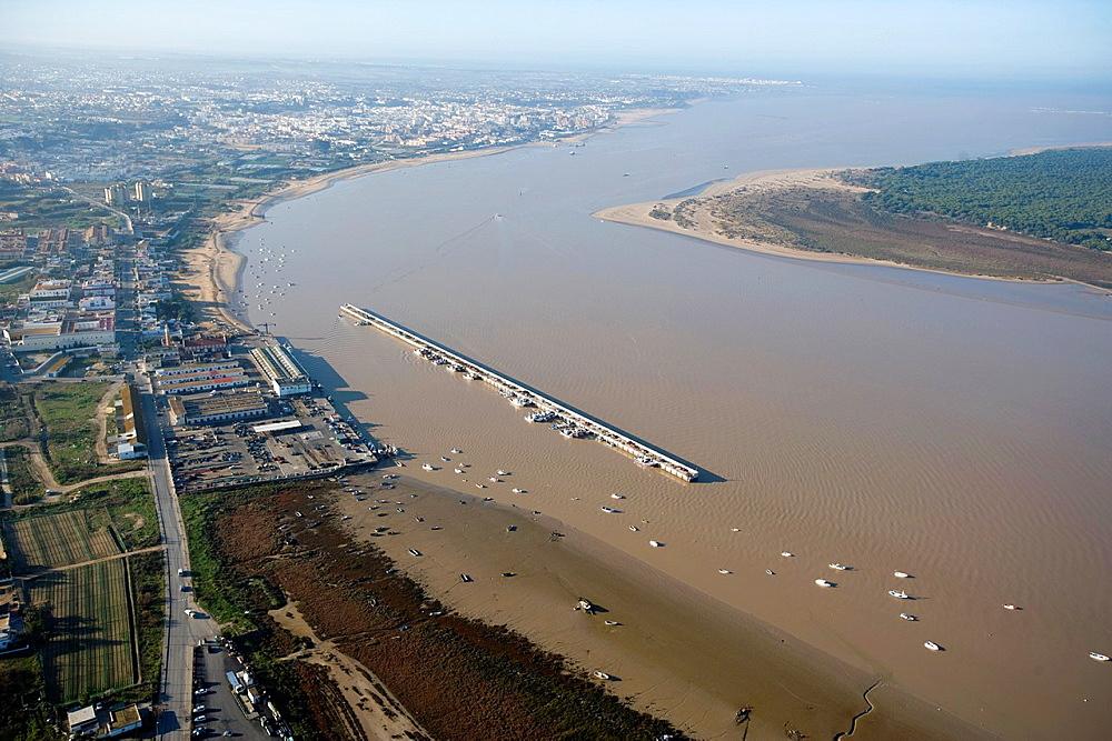 aerial view of the river Guadalquivir and the Port of Bonanza, Sanlucar de Barrameda, Cadiz, Donana Natural Park, Spain, Europe