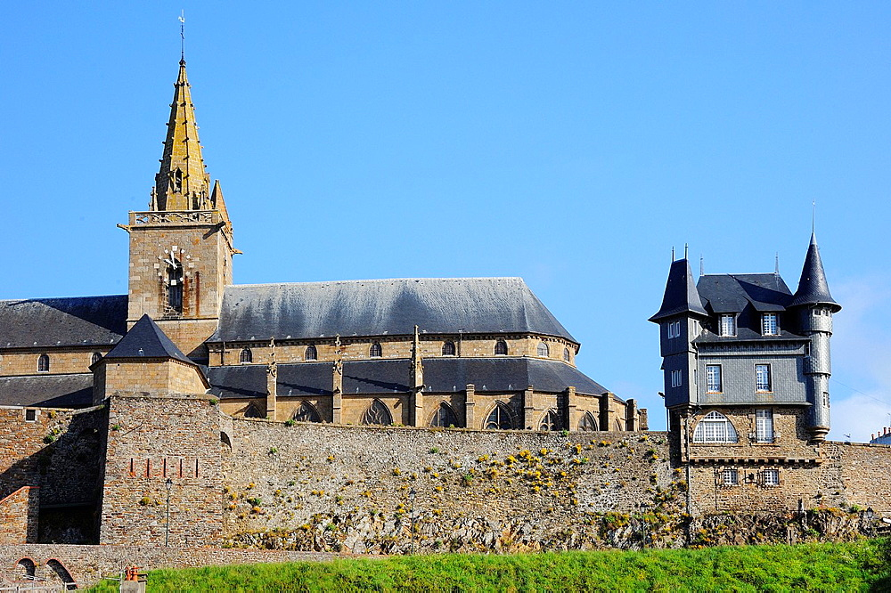 France, Manche, Granville, The Haute Ville and Notre Dame church