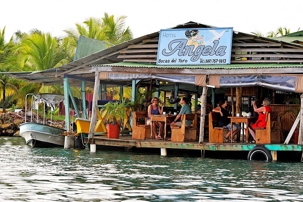 Wooden Houses On Stilts Of Bocas Del Toro Town, Colon Island, Bocas Del Toro Archipelago, Republic Of Panama, Central America
