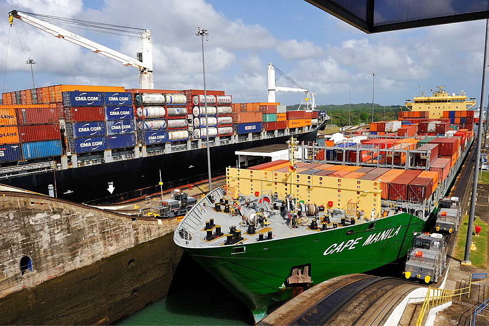 Container-Ship Crossing The Panama Canal Gatun Locks, Republic Of Panama, Central America