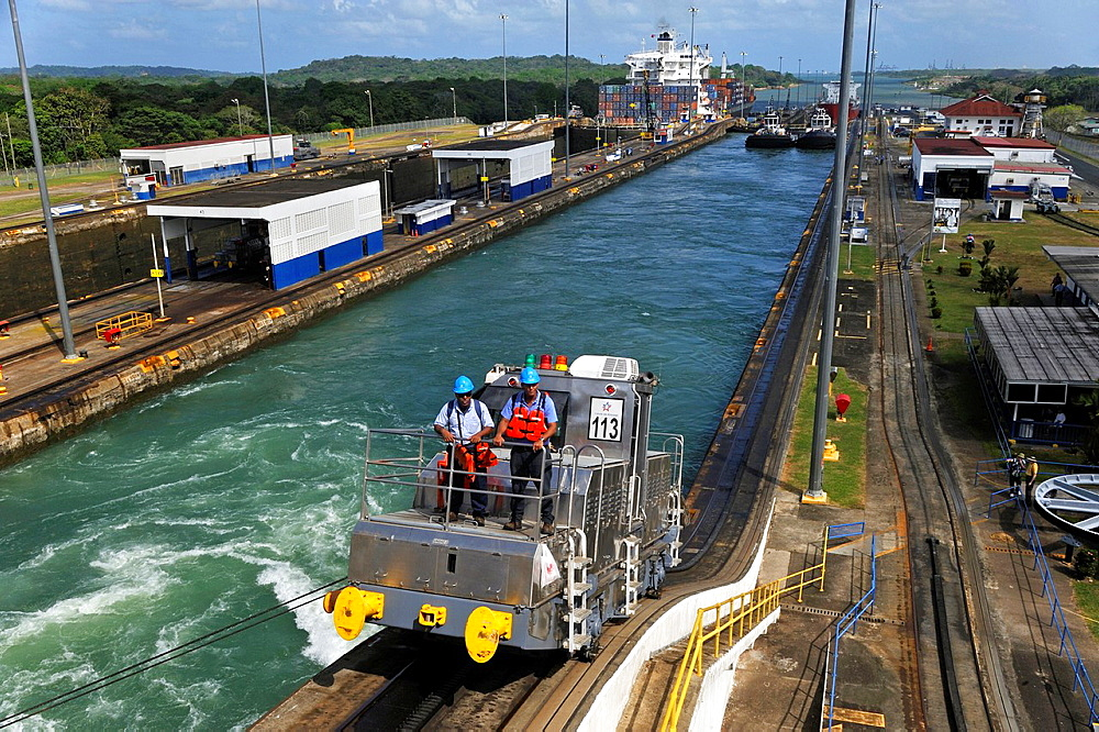 Electric Locomotive, Known As Mule, Is Used For Side-To-Side Control Of Ships In Panama Canal Gatun Locks, Republic Of Panama, Central America
