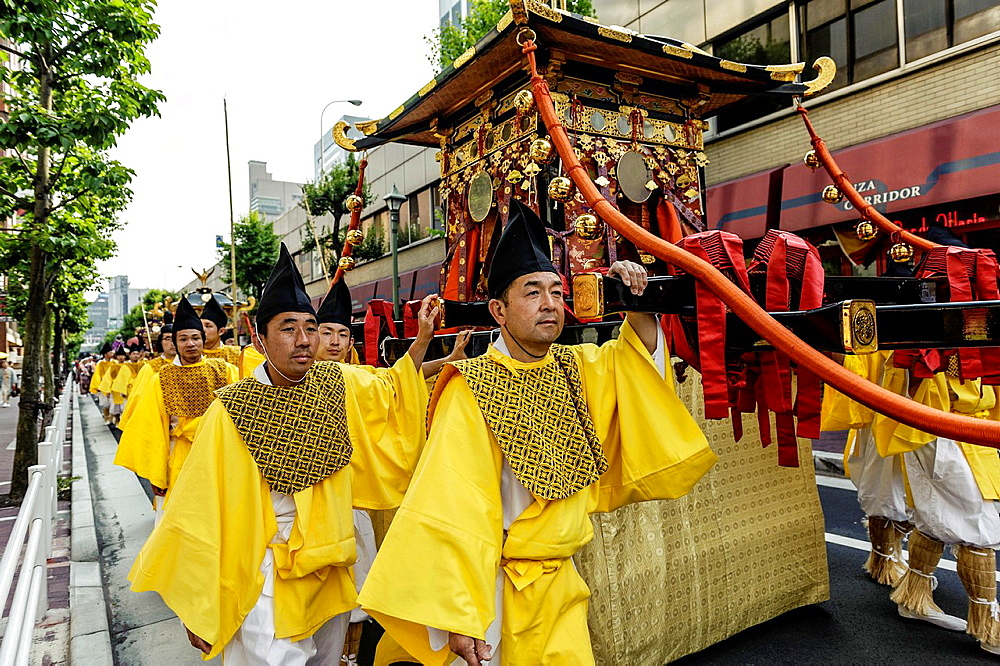 Religious parade on the streets of Tokyo, Japan, Asia