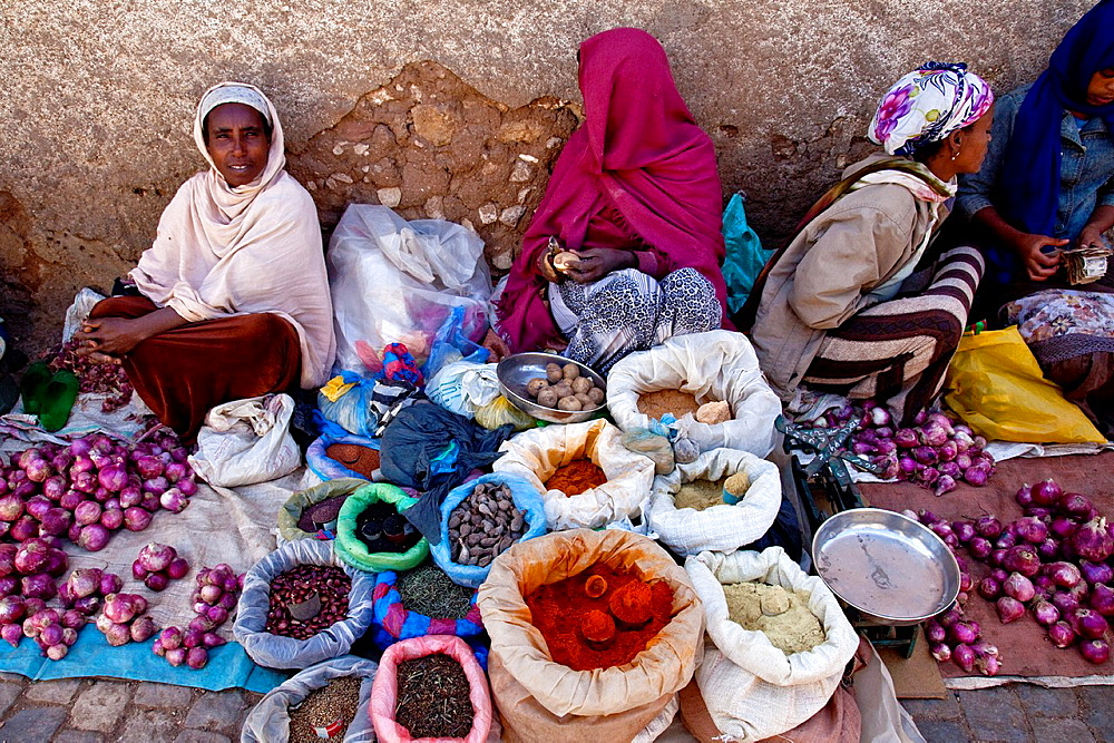 Woman selling vegetables and spices in the street, Jugol Old Town Harar, Ethiopia