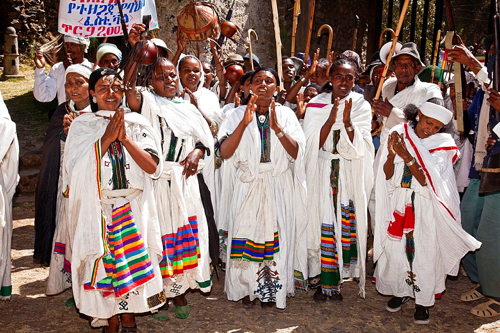 Local People Clapping and Singing During Timkat The Festival of Epiphany, Gondar, Ethiopia - 817-433980