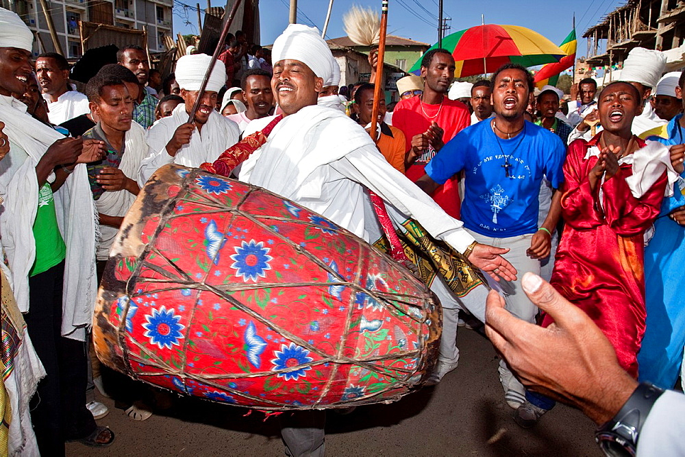 Ethiopian People Celebrating Timkat The Festival of Epiphany, Gondar, Ethiopia - 817-434001