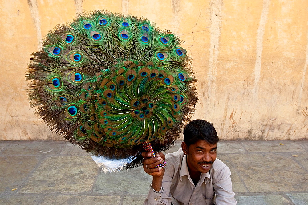 Peacock Feather Seller, The City Palace, Jaipur, Rajasthan State, India