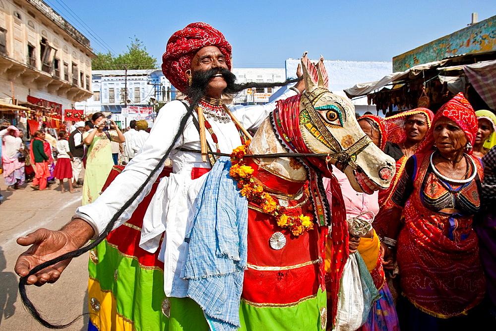 Man with the longest Moustache, Pushkar Camel Festival, Pushkar, Rajasthan, India