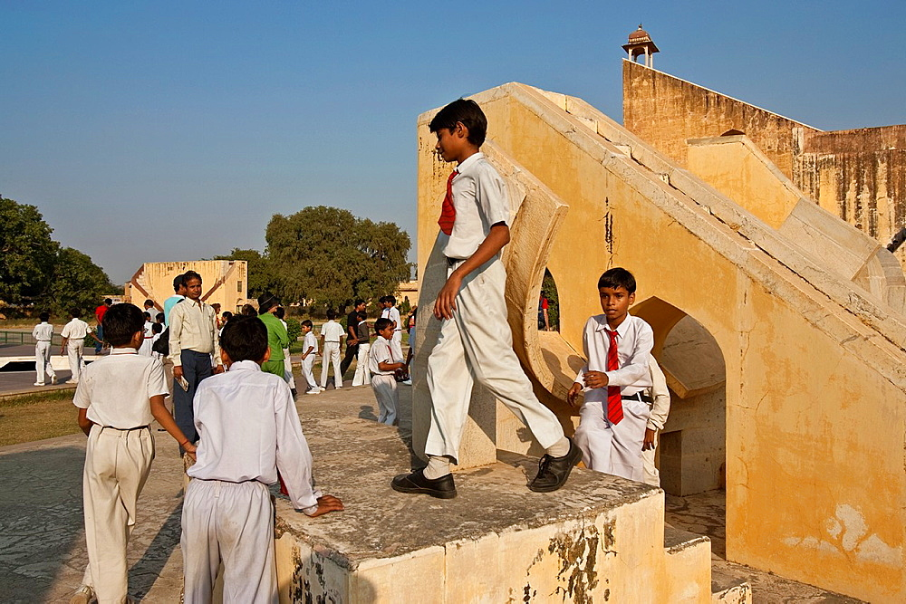 Indian Schoolchildren at the Jantar Mantar Observatory, Jaipur, Rajasthan State, India