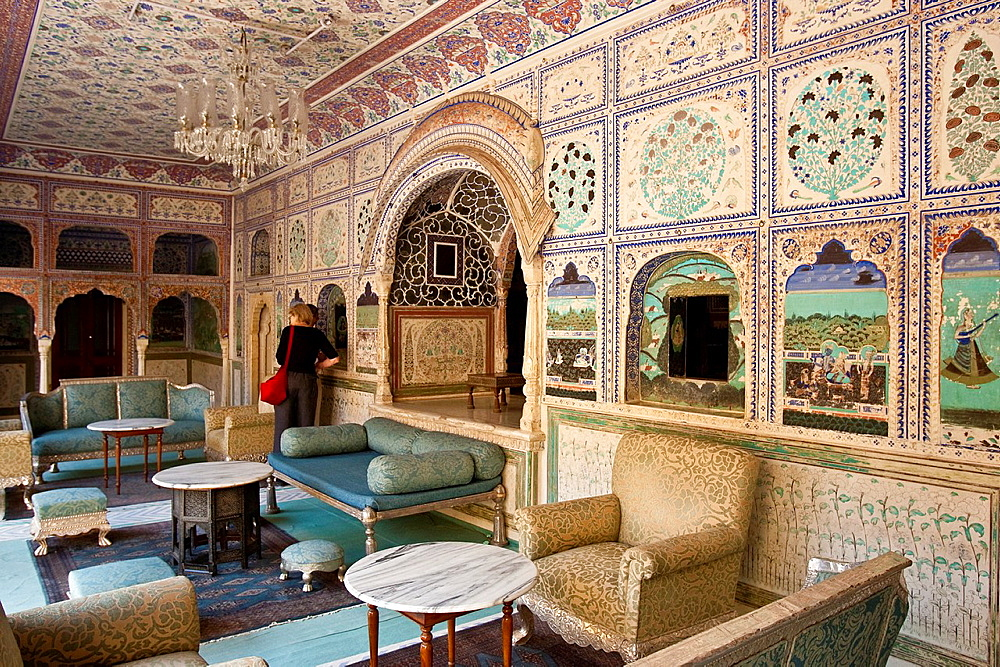 The Interior of The Samode Palace, near Jaipur, Rajasthan, India