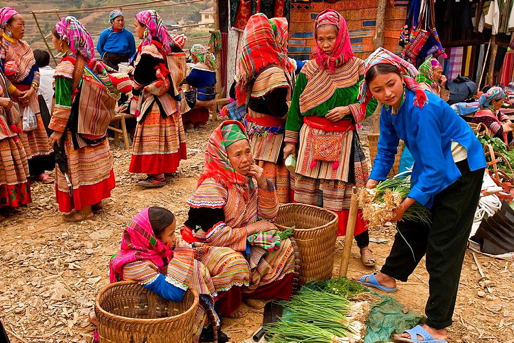 Flower Hmong Hill Tribe Women, Can Cau Market, Lao Cai Province, Vietnam