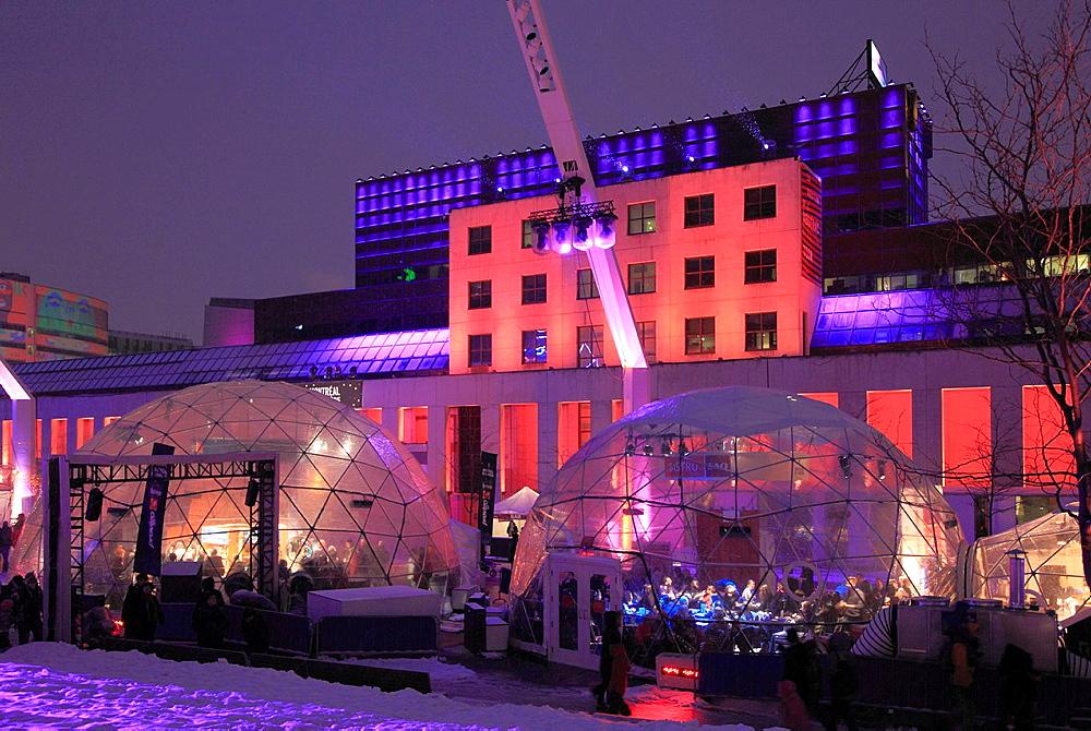Canada, Quebec, Montreal, Montreal en lumiere, winter festival, Place des Festivals,