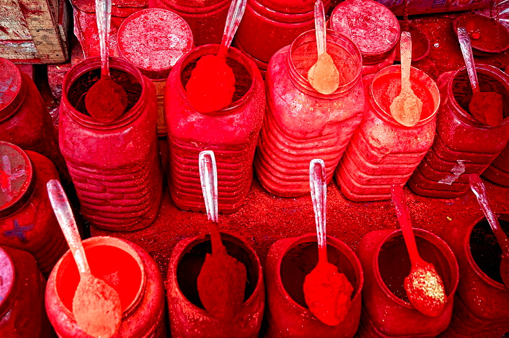 Red coloured pigments, Calcutta, West Bengal, India