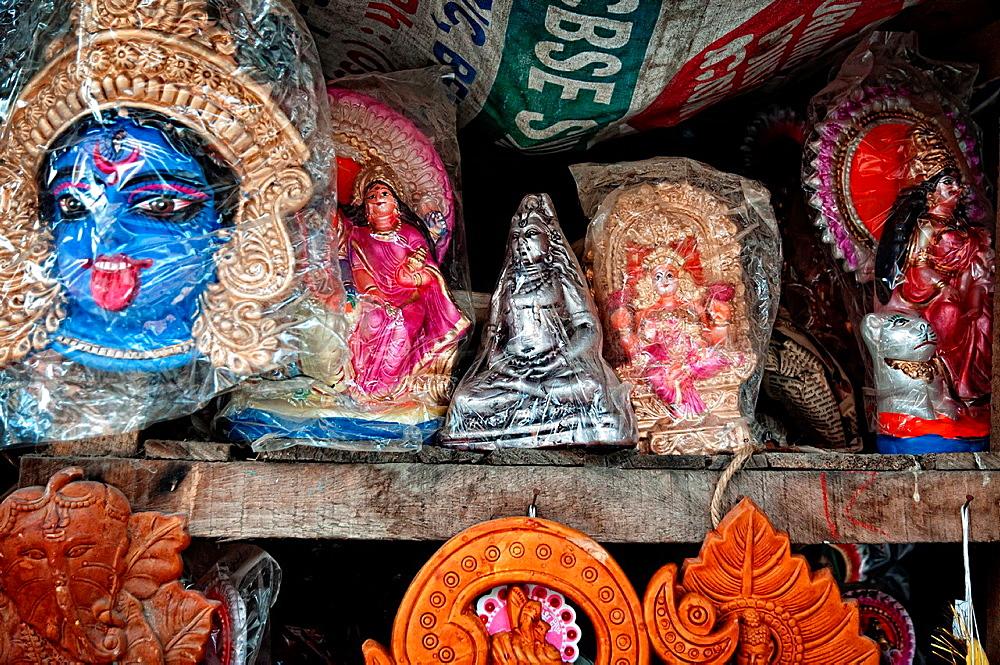 Effigies of gods in a workshop in Kumartuli district, Calcutta, West Bengal, India