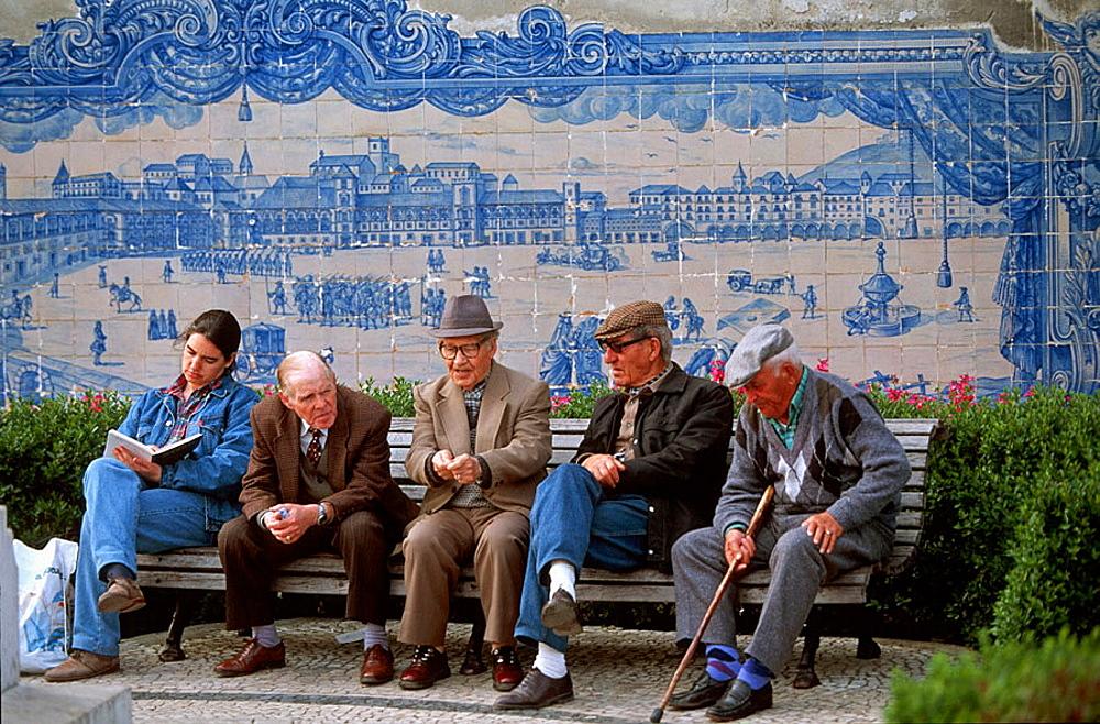 'Azulejo' tiles in the Miradouro Santa Luzia depicting Praca do Comercio, Lisbon, Portugal