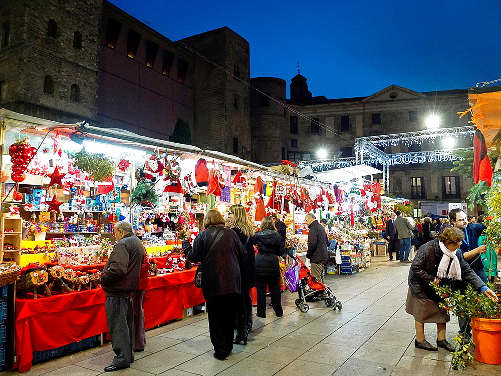 Spain Barcelona city Christmas Fair at Cathedral square Santa Llucia Fair