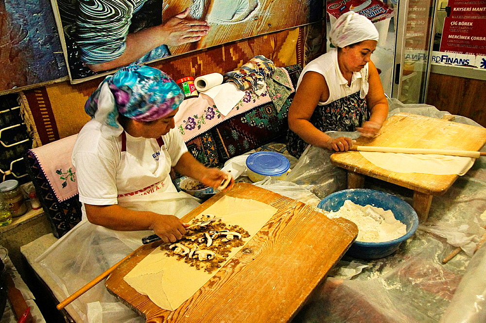 Preparing 'boreks' at Antalya, Turkey