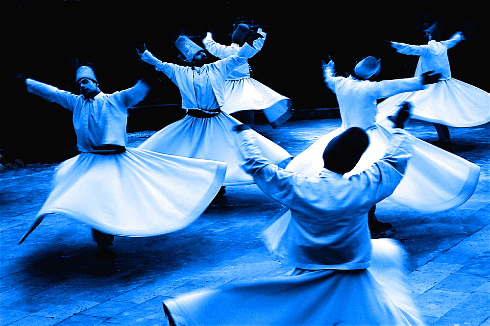 Mystic dance performed within the Sama worship ceremony by the Sufi Dervishes, Konya, Anatolia, Turkey - 817-435437