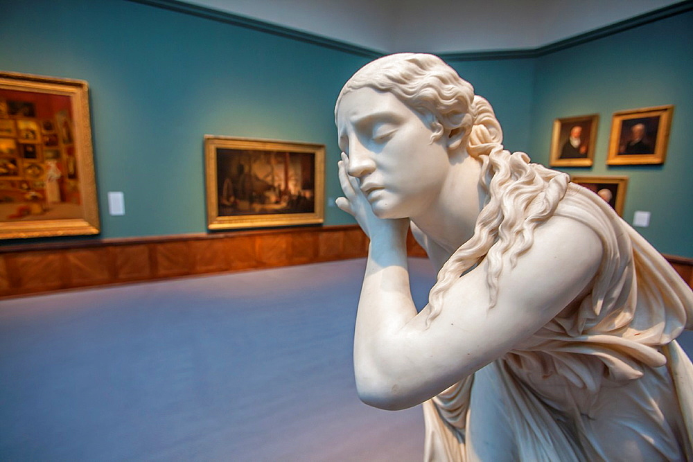 Marble statute 'Nydia, the Blind Girl of Pompeii' by Randolph Roberts 1825-1892 in the Samuel F B Morse's Gallery of the Louvre in Pennsylvania Academy of the Fine Arts PAFA