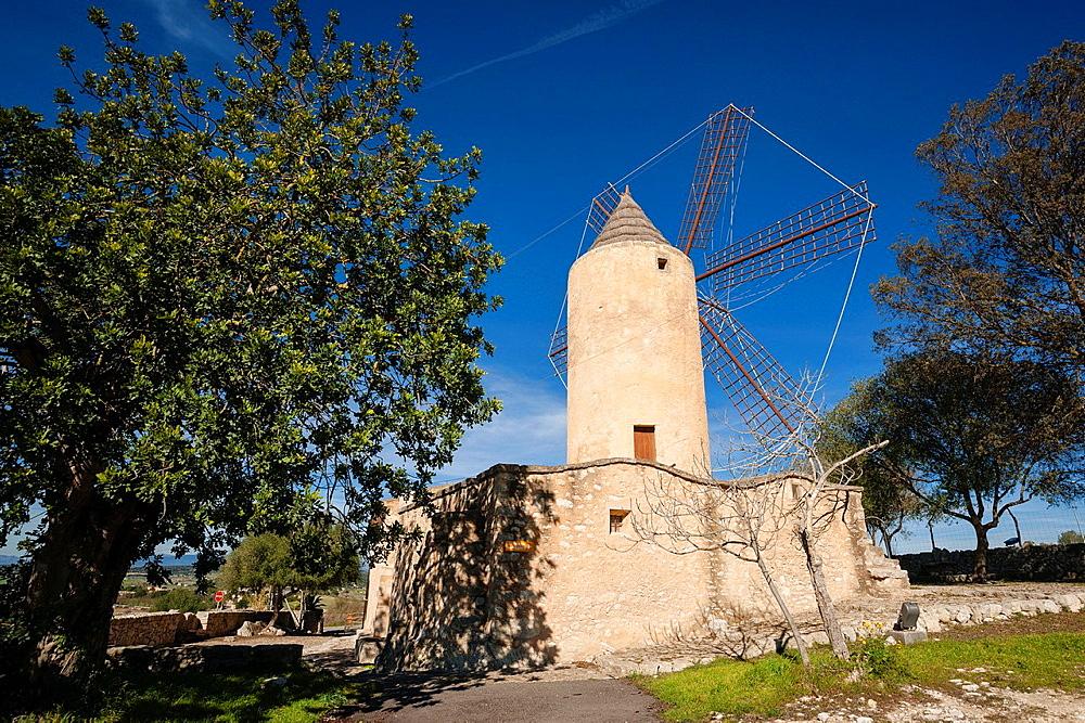 Mill den Fraret, Montuiri, a flour mill eighteenth century, houses the Archaeological Museum Son Fornes, mallorca, Balearic Islands, Spain, Europe