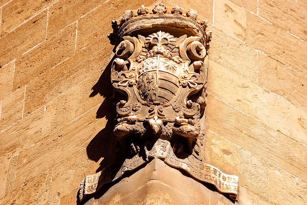 family coat of Ramon Saforteza i Pacs-Fuster, known as Conde Mal, Can Formiguera palace, portella Street, Historic-Artistic, Palma, Mallorca, Balearic Islands, Spain, Europe