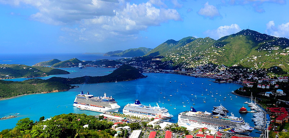 Cruise Ships in Charlotte Amalie Harbor St. Thomas Virgin Islands USVI Caribbean US Territory