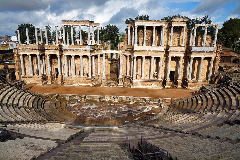 Roman Theater ruins in Merida Badajoz Extremadura Spain